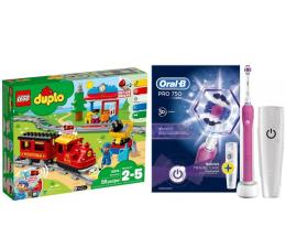 Oral-B PRO 750 Pink + LEGO DUPLO Pociąg parowy (320204+432466)