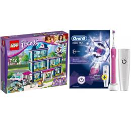 Oral-B PRO 750 Pink + LEGO Friends Szpital w Heartlake (320204+367052)