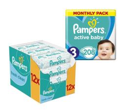 Pampers Active Baby Dry 3 Midi 6-10kg 208szt + Chusteczki (8001090910745 + 4015400622598 )