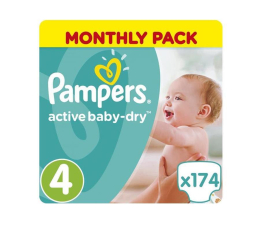 Pampers Active Baby Dry 4 Maxi 8-14kg 174szt Na Miesiąc  (8001090172556 MBPlus)
