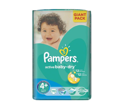 Pampers Active Baby Dry 4+ Maxi 9-16kg 70szt (4015400736325 Giant Pack)