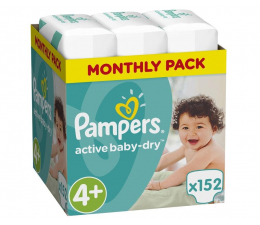 Pampers Active Baby Dry 4+ Maxi 9-16kg 152szt Na Miesiac (8001090448392 MBPlus)
