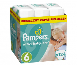 Pampers Active Baby Dry 6 Extra Large 15kg+ 124szt (8001090448422 MBPlus)