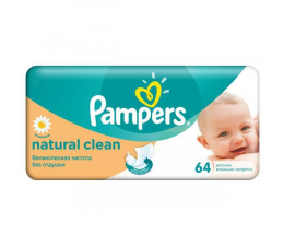 Pampers Chusteczki Nawilzane Natural Clean 64szt (4015400636830)
