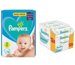 Pampers New Baby 2 Mini 4-8kg 228szt + Chusteczki 672szt (8001841219257 + 4015400622284 )