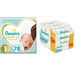Pampers Premium Care 1 Newborn 78szt +Chusteczki 672szt (8001841104836 + 4015400622284 )