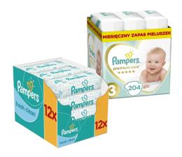 Pampers Premium Care 3 Midi 5-9 kg 204szt + Chusteczki  (8001090379498 + 4015400622598 )