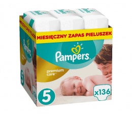 Pampers Premium Care 5 Junior 11-18kg Na Miesiąc 136szt (8001090379535 Premium MB)