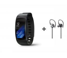 Samsung Gear Fit 2 (L) czarny + Level Active Earphone (EO-BG930CB_SM-R3600DAA)
