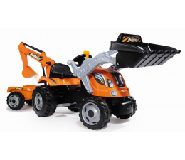 Smoby Traktor koparka na pedały MAX z przyczepą (710110)