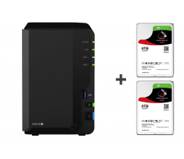 Synology DS218+ 12TB (2xHDD, 2x2-2.5GHz, 2GB, 3xUSB, 1xLAN) (DS218+ (w zestawie 2xST6000VN0033) )