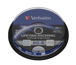 Verbatim  M-DISC 25GB X4 INKJET PRINTABLE (10 CAKE) (43825)