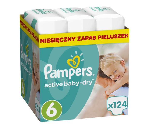 Pampers Active Baby Dry 6 Extra Large 15kg+ 124szt - 392538 - zdjęcie
