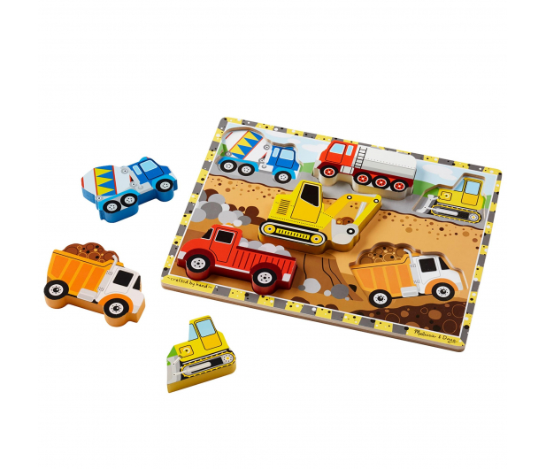 Melissa & Doug Puzzle drewniane Pojazdy budowlane - 456226 - zdjęcie 2