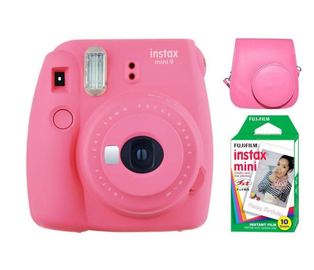 Fujifilm Instax Mini 9 różowy + wkład 10PK + pokrowiec - 393614 - zdjęcie 1