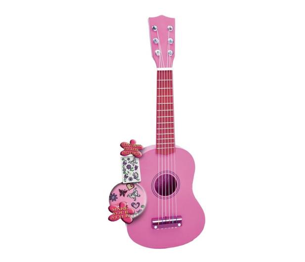 Bontempi PLAY Gitara drewniana 55 CM różowa z naklejkami - 415430 - zdjęcie