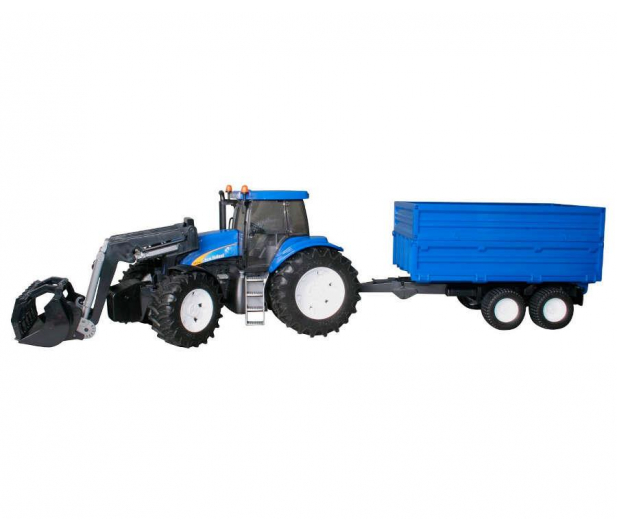 Bruder Traktor New Holland TG 285 z ładowarką i przyczepą - 435179 - zdjęcie