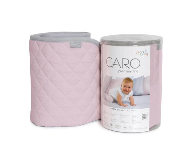Ceba Baby Kocyk dziecięcy 90x100 CARO różowy - 442053 - zdjęcie