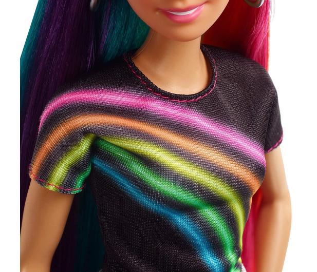 Barbie Błyszczące tęczowe włosy Lalka - 471309 - zdjęcie 4