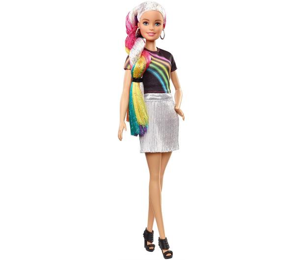 Barbie Błyszczące tęczowe włosy Lalka - 471309 - zdjęcie 10