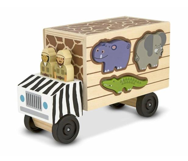 Melissa & Doug Drewniana ciężarówka ze zwierzętami Safari - 500646 - zdjęcie