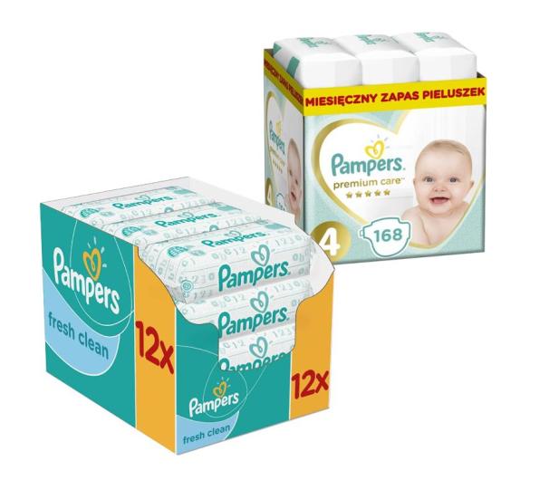 Pampers Premium Care 4 Maxi 8-14kg 168szt + Chusteczki - 499778 - zdjęcie
