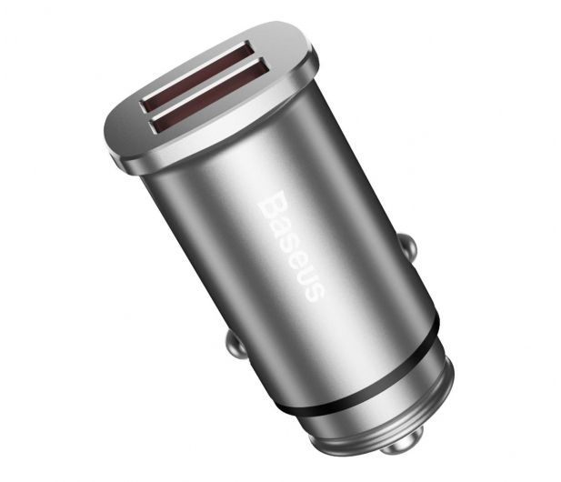 Baseus Ładowarka samochodowa 2x USB, QC 3.0 (srebrny) - 509281 - zdjęcie