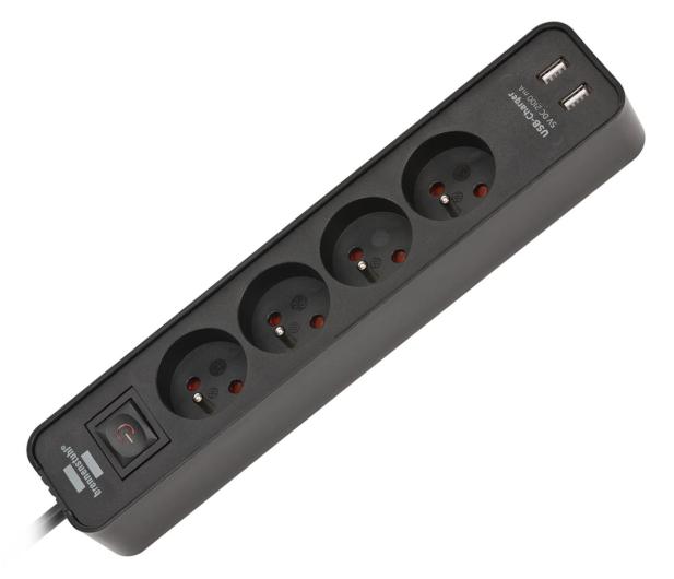 Brennenstuhl Ecolor - 4 gniazda, 2x USB, 1.5m, czarna - 603873 - zdjęcie