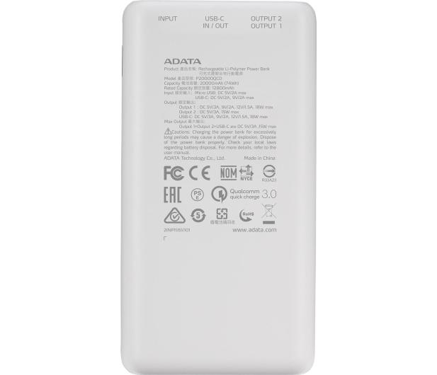 ADATA Power Bank P20000QCD 20000mAh biały - 645543 - zdjęcie 4