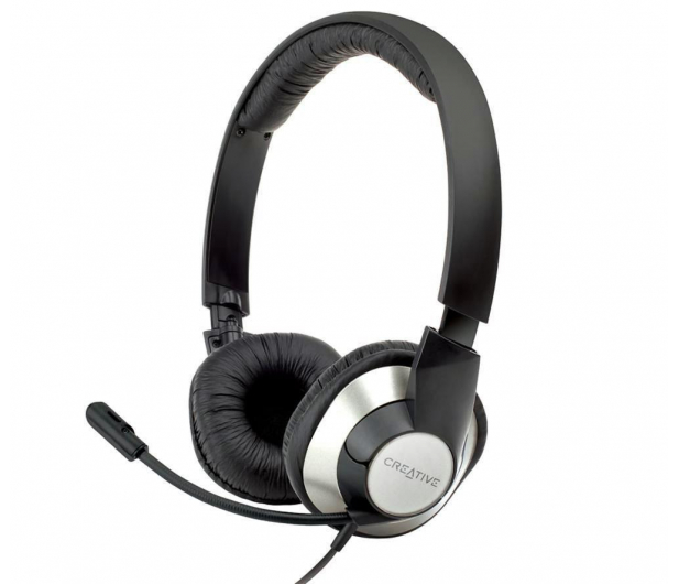 Creative HS-720 czarno-srebrne z mikrofonem - 64455 - zdjęcie 2