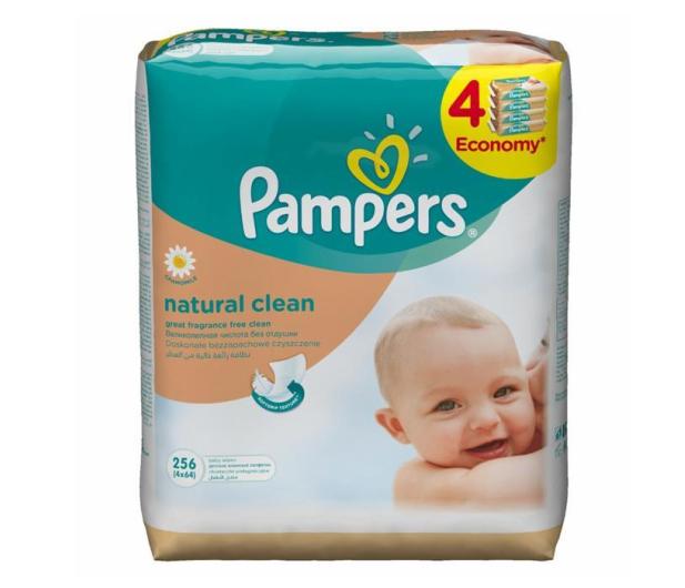 Pampers Chusteczki Nawilzane Natural Clean 4x 64szt - 339419 - zdjęcie