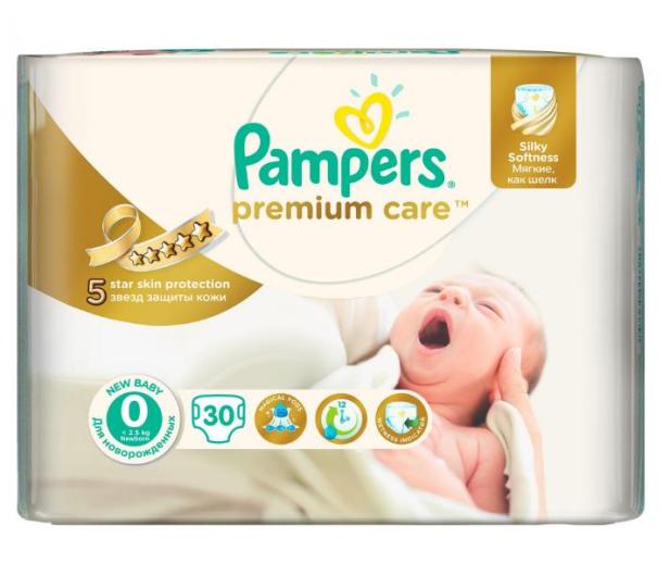 Pampers Premium Care 0 Newborn do 2,5kg 30szt - 189228 - zdjęcie