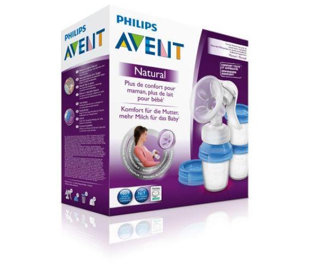Philips Avent Laktator Ręczny NATURAL +3x Pojemnik VIA Na Pokarm - 320349 - zdjęcie 3