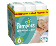 Pampers Active Baby Dry 6 Extra Large 15kg+ 124szt - 392538 - zdjęcie 1